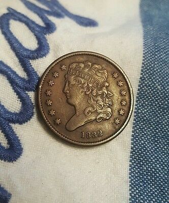1832 Classic Head Half Cent - Nice Coin -Rare Only 51,000 Minted Rev. Die Break!