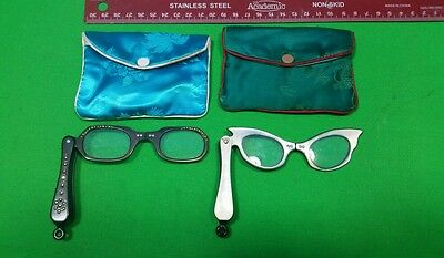 2 Pair Vintage 1950's-60's Lorgnette Folding Opera Style Glasses Cat Eye & Oval