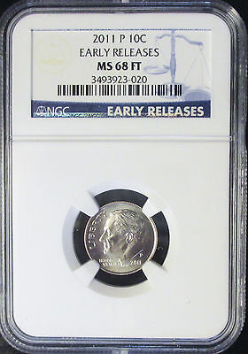 2011 P Ngc Ms 68 Ft Roosevelt Dime Early Releases! Rare!!
