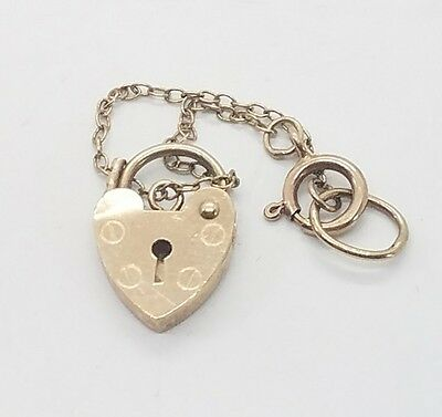 Vintage Antique Victorian 9k 9ct Yellow Gold Heart Lock Clasp Chain