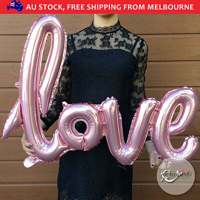 "40"" Handwriting Love Foil Balloons Wedding Birthday Party Decorations Pink 102cm"