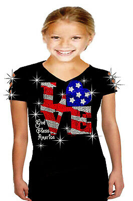 Bling Rhinestones July 4th T-shirt Ripped Slit Cut Out Flag w// FIRE Medium
