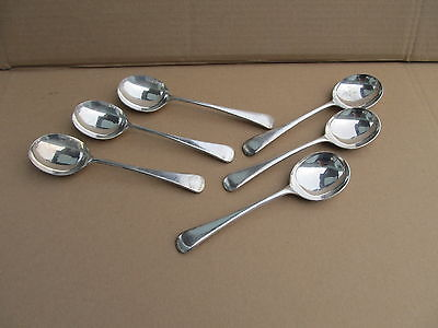 Lot of 6 Heavy Sheffield England EPNS A1 Soup Spoons 7.5""
