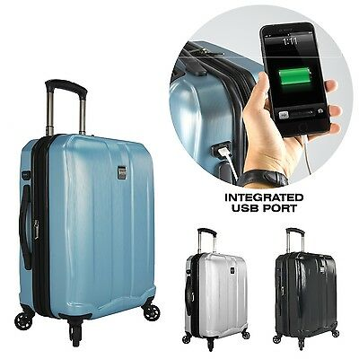 """Piazza 22"""" Carry-on USB Charging Smart Luggage Expandable Spinner Suitcase Bag"""