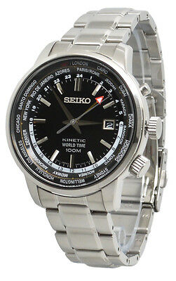 Seiko Kinetic World Time SUN069 Black Dial Stainless Steel Men's Watch