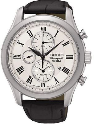 Seiko Chronograph SNAF69 Silver Dial Black Leather Band Men's Watch