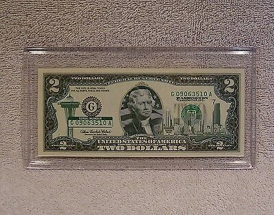 Washington  $2 Two Dollar Bill - Colorized State Landmark Uncirculated Authentic