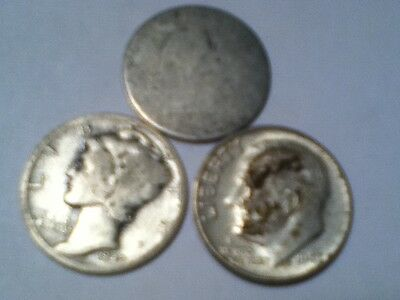90% silver dime no date seated liberty, 1942 mercury, 1947 roosevelt