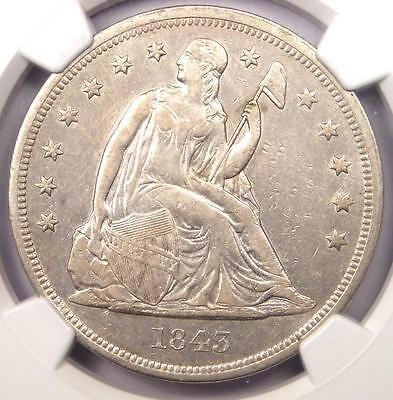 1843 Seated Liberty Silver Dollar $1 - NGC XF Details - Rare Coin - Near AU!