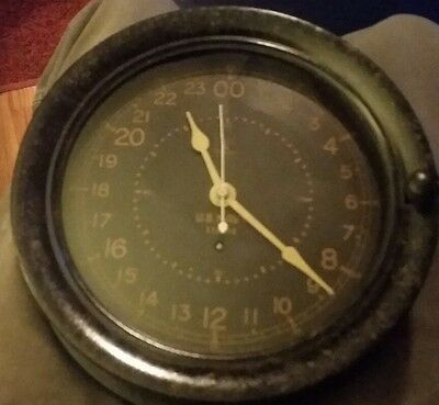 "Nice Rare Seth Thomas U.s. Navy Ships Clock 24Hr 8 1/2"" Ww2 Bakelite With Key"