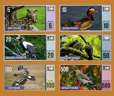SET Russia, 5;10;20;50;100;500 rubles 2015, Endangered Birds of Russia