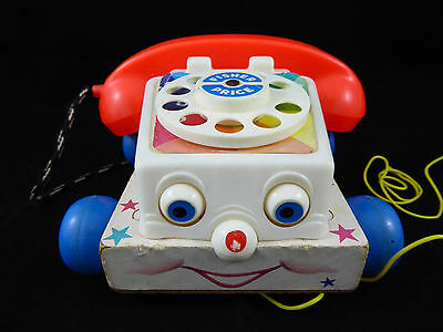 Genuine Vintage Retro FISHER PRICE CHATTER TELEPHONE Pull Toy 1970s USA Wooden