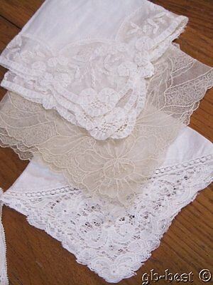 6 Vintage Lace WEDDING Handkerchief s Tambour net FRENCH