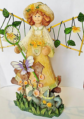 Fairy garden figurine rustic country old world carved dress