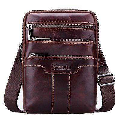 Men's Vintage Genuine Leather Vertical Shoulder Bag Messenger Crossbody Satchel