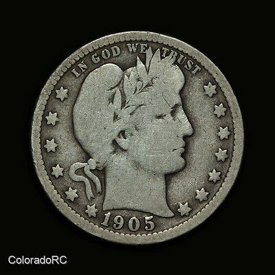 1905-O 25C Barber Silver Quarter Dollar - Very Good