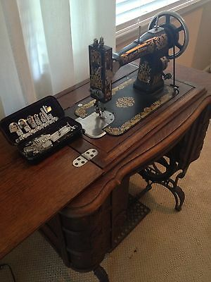 Antique White Family Rotary Treadle Sewing Machine - Restored