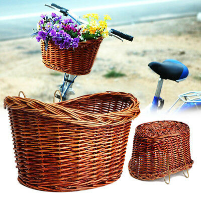Trendy Vintage Brown Bike Bicycle Basket Willow Wicker Style with Straps New