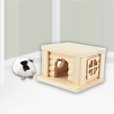 Pet Hamster Mouse Guinea Pig Wood House Cage Nesting Habitat Small Bedding Nest