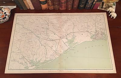 Original Antique Civil War Map TEXAS Houston Galveston Austin City Beaumont TX
