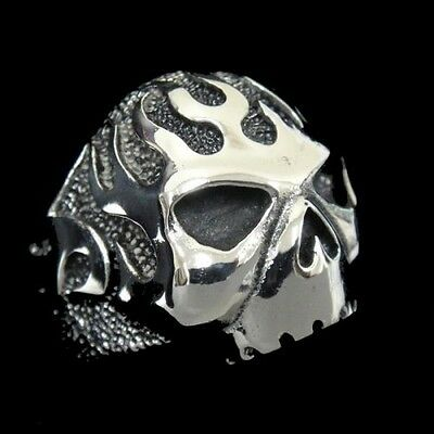 Fire SKULL Iron Man Silver Ring for Harley Biker Support 1% Outlaw Avengers TR66