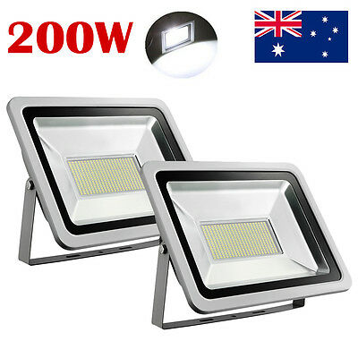 2X 200W Cool White LED Flood Light Outdoor Garden Security SMD Floodlight 240V
