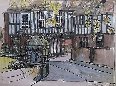 COLOURED GRAPHITE DRAWING by FREDERICK GEORGE WILLS 1901-1993 R.I. OLD BUILDINGS