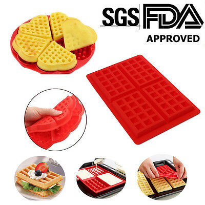 Silicone Square & Round Waffles Mould Muffin Pans Baking Cake Tray Waffle Makers