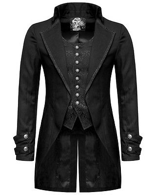 Punk Rave Mens Gothic Morning Jacket Tailcoat Black Steampunk Victorian Wedding