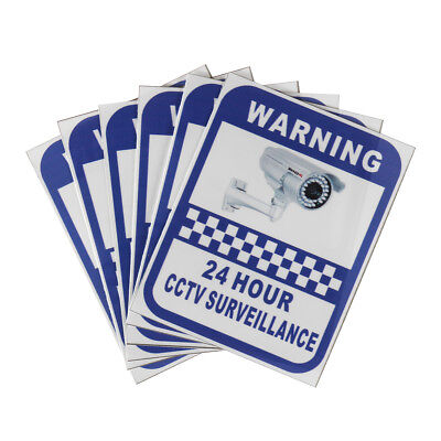 6 Security Camera Surveillance 24 Hour Warning Sticker Home Office CCTV Stickers