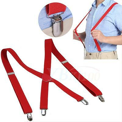 New Men's Elastic Wide Work Suspender Braces X-Back Stainless steel Clips on dy