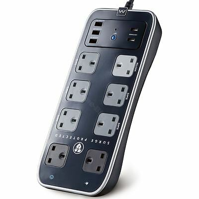Masterplug 8 Gang Surge Protected Master/Slave 1m Extension Power Lead USB Black