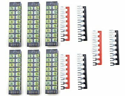 XLX 12pcs ( 6 Set ) 600V 25A 8 Positions Double Row Screw Terminal Strip and