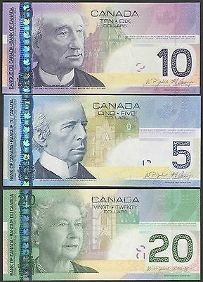 Canada Set P101-P102-P103**5-10-20 Dollar**2004/2010***unc Gem***look Super Scan