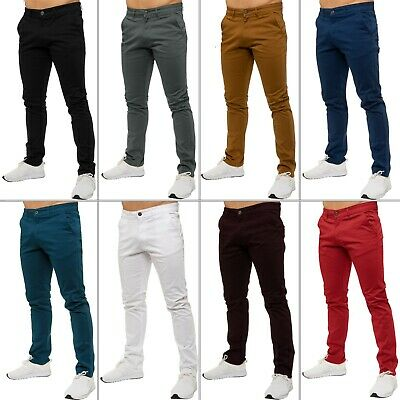 Enzo Mens Stretch Slim Fit Branded Chinos Trousers Jeans Pants All Waist Sizes