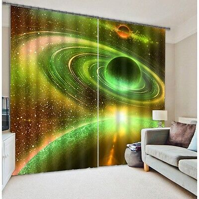 Universe Space Planet 3D Blockout Photo Printing Curtains Drape Fabric Window 01