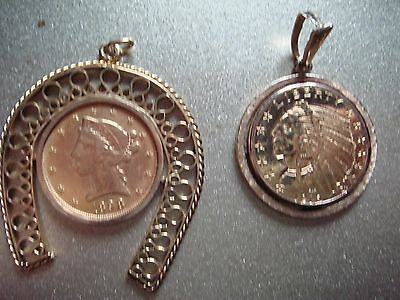 Two five dollar gold coins in 14k bezels 26.9 grams total