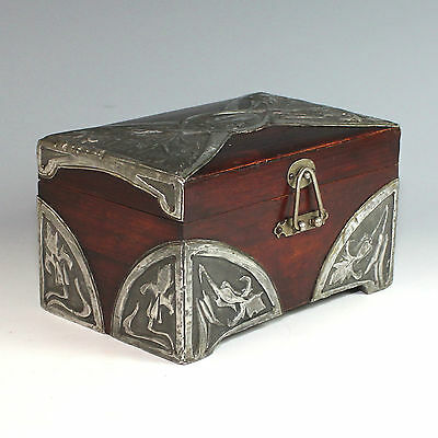 French Art Nouveau Wood Box with Hand Hammered Metal Overlay