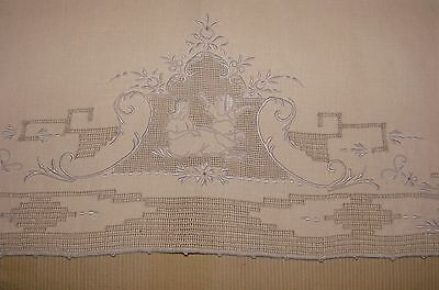 Antique Fine Appenzell Embroidered Lace and Linen Hand Towel, Figural
