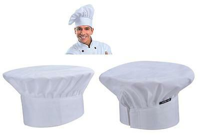Chef Hat Elastic Adjustable Baker Kitchen Cooking Hat Polycotton White Chef Cap