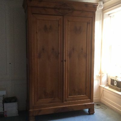 French Louis-Phillipe Solid Cherry Wood Armoire / Wardrobe