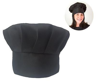Chef Hat  Adjustable Velcro Fit  Baker Kitchen Cooking Hat Adult Cap Black