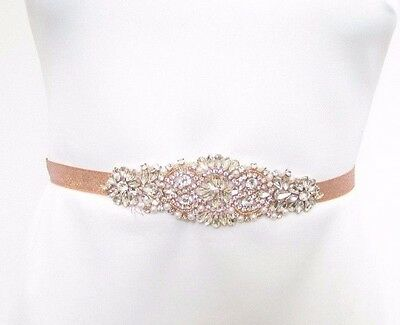 Rose Gold Ivory Silver Pearl Diamante Bridal Belt Wedding Sash Vintage Bead 2687