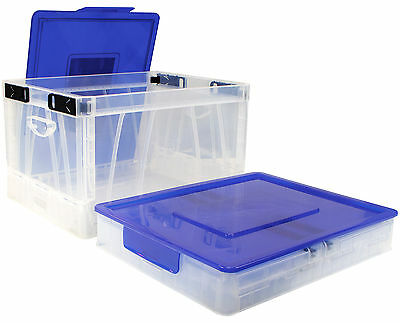 Folding Storage Cube ,Clear Color with Blue Lid ,4 Pack (61819B04C)