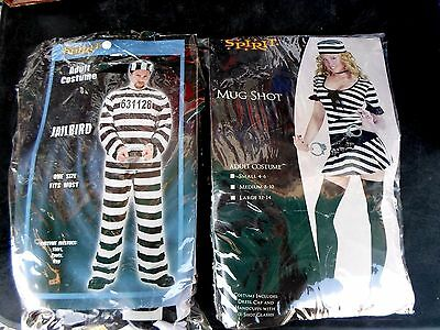 Lot Of 2 Spirit Adult Costumes - Jailbird And Mugshot - Male/ Female - Free Ship