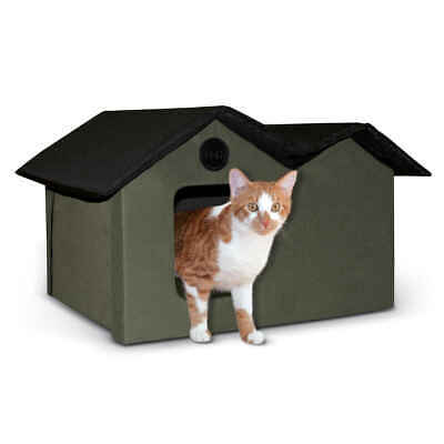 K&H Pet Dog Unheated Outdoor Kitty House Extra Wide Olive / Black
