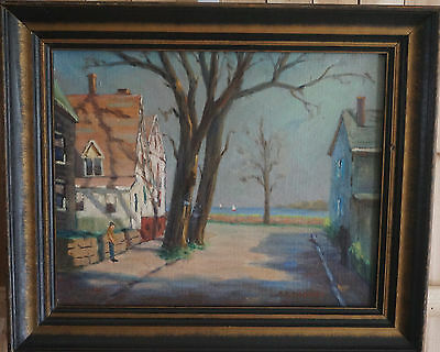 """M.b. Radding Original Signed Oil On Canvas """"street In Nantucket"""" Painting 20Th C"""