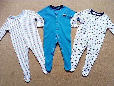 baby boy nautical sleepsuits 3-6 months. Set of 3 baby grows, boats / stripes