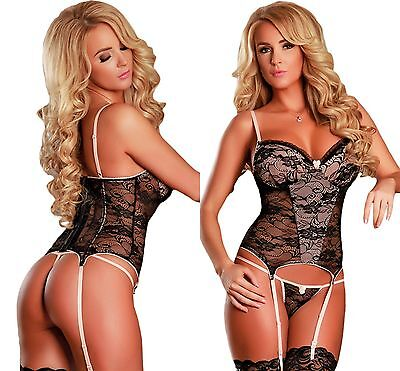 Ladies Women Black and Nude Lace Bustier Set Lace Lingerie Bodysuit 8 10 12 14