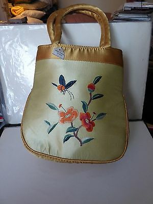 Chinese 100% Handmade Embroidery Silk Handbag:flower Butterfly Embroidery